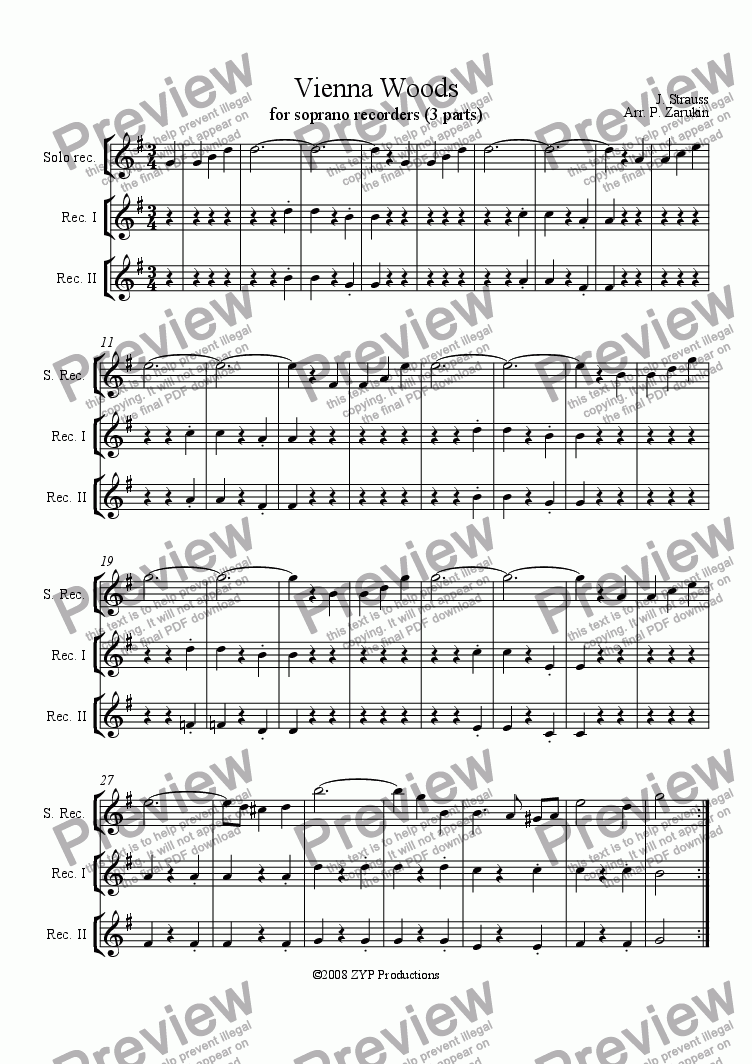 "page one of ""Vienna Woods"" for recorders"