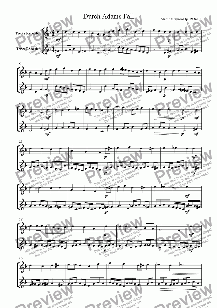 page one of Fantasia on 'Durch Adams Fall' for Treble and Tenor Recorders