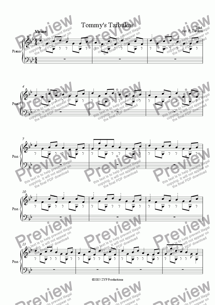 "page one of ""Tommy's Tarbukas"" for piano solo"