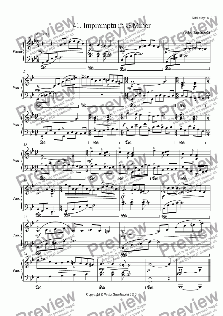 page one of Impromptu in G Minor