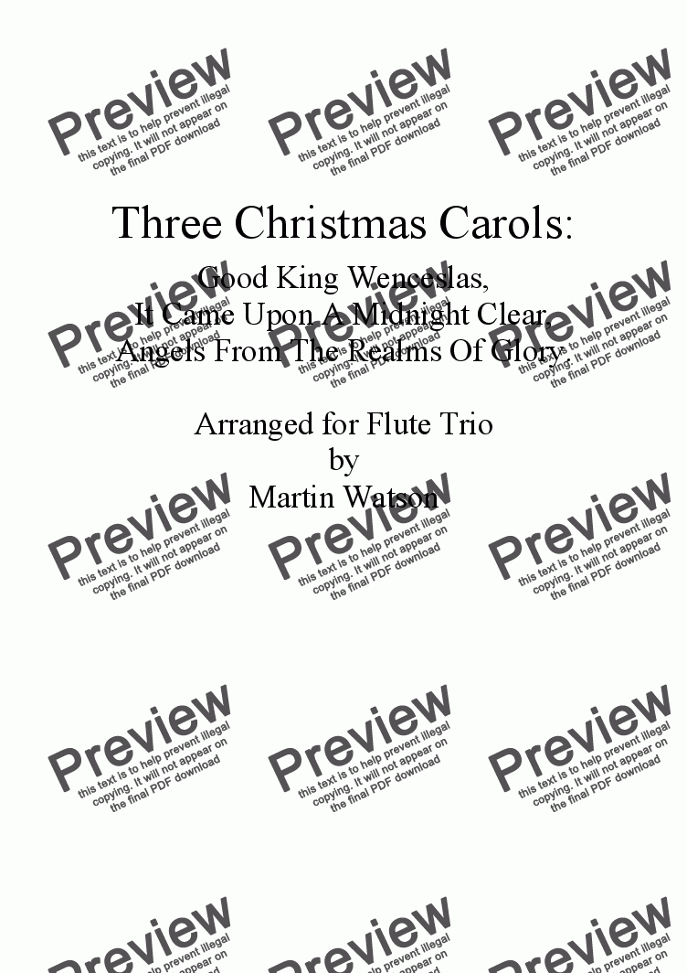 page one of Three Christmas Carols for Flute Trio