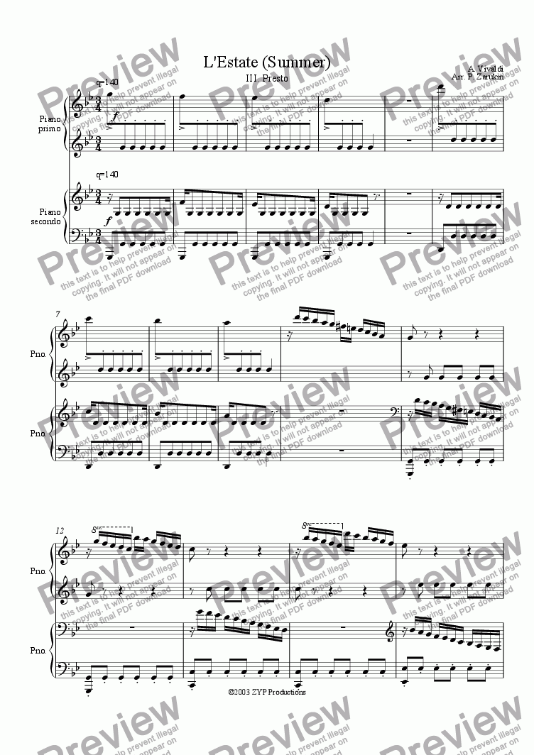 "page one of ""Summer"" (L'Estate) for piano 4 hands"