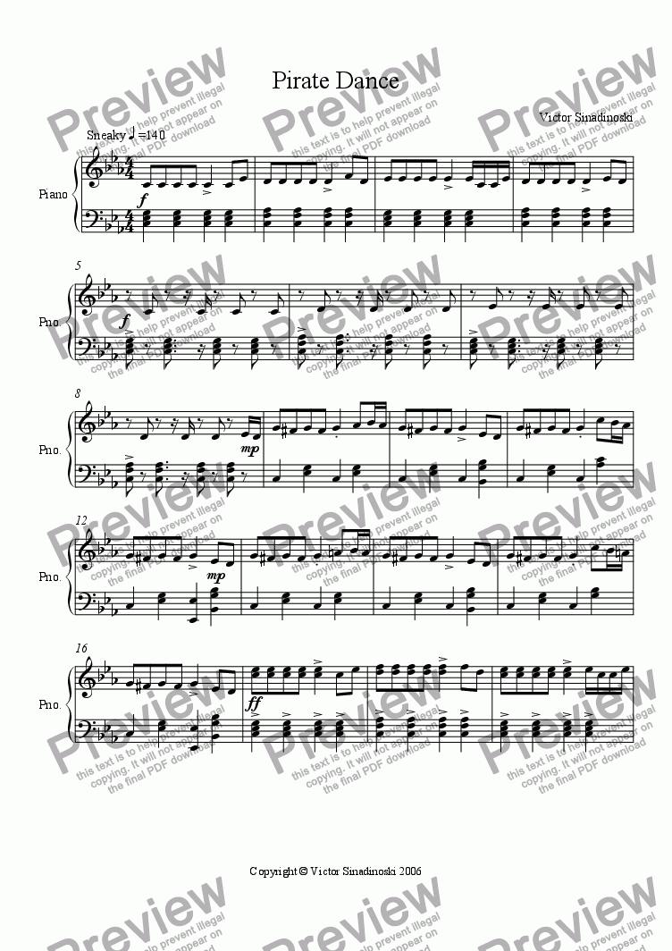 page one of Pirate Dance