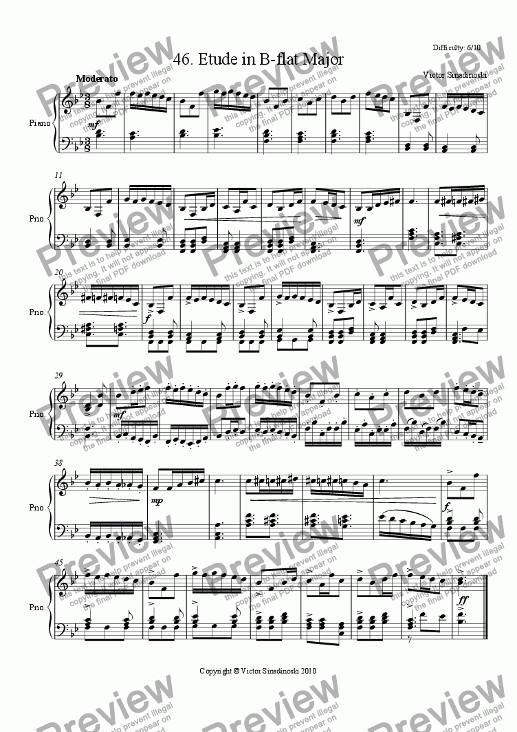page one of Etude in B-flat Major