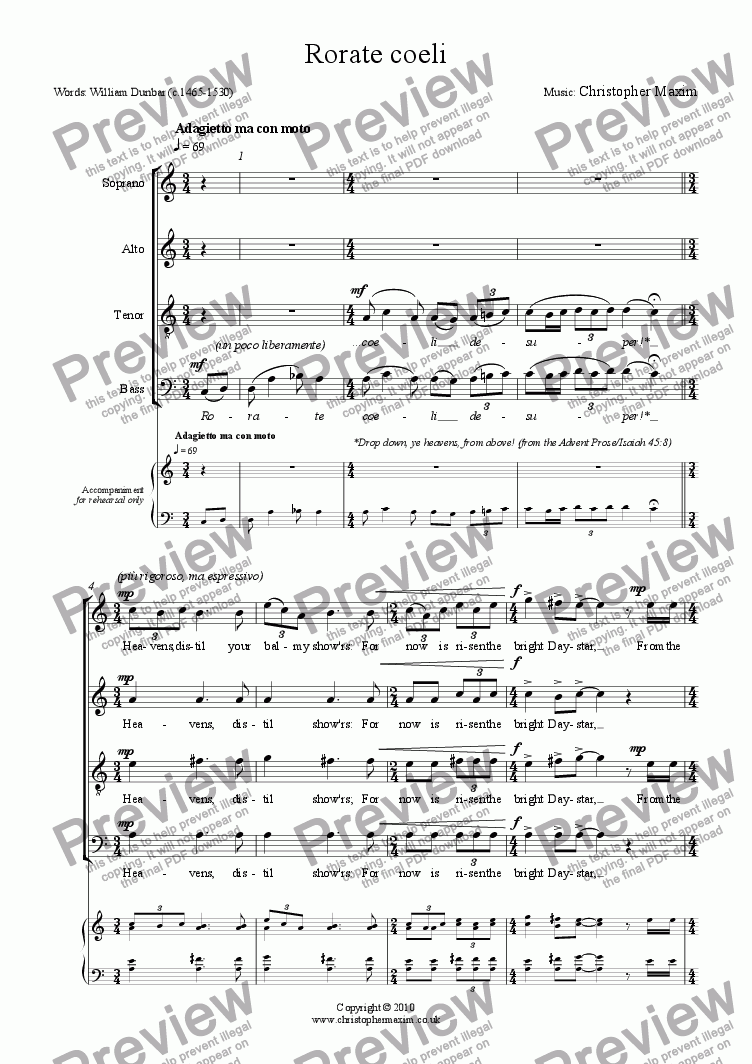 page one of Rorate Coeli (Christmas motet)