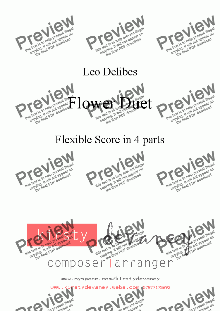 page one of Flower Duet (flexible score)