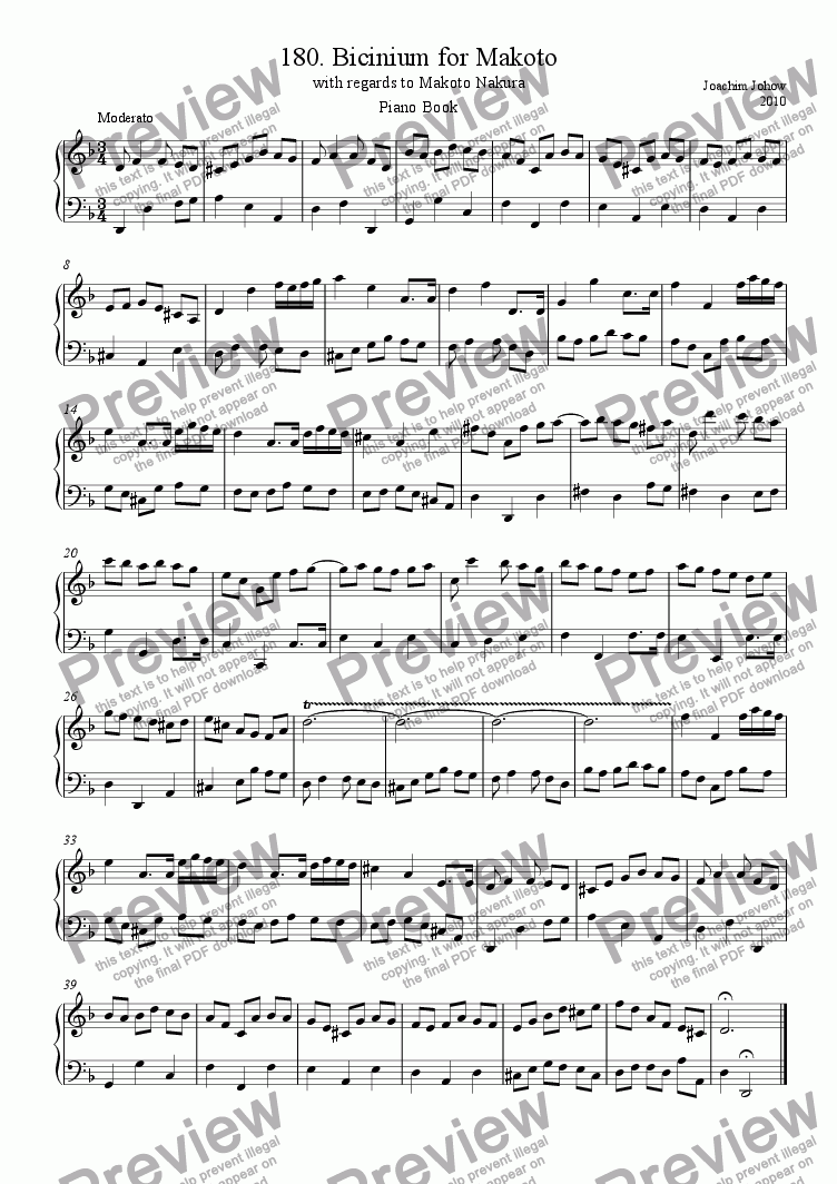 page one of Piano Book 180 (Bicinium for Makoto)
