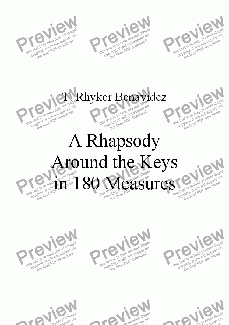 page one of A Rhapsody Around the Keys in 180 Measures