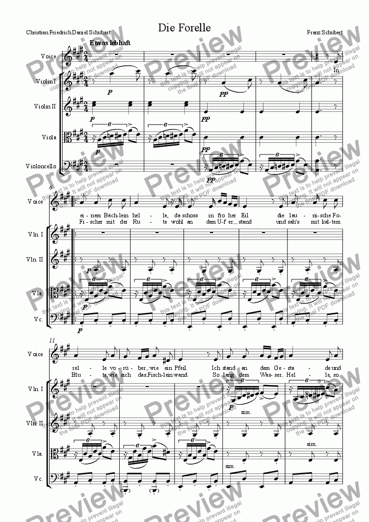 page one of Die Forelle (arranged for voice and strings)