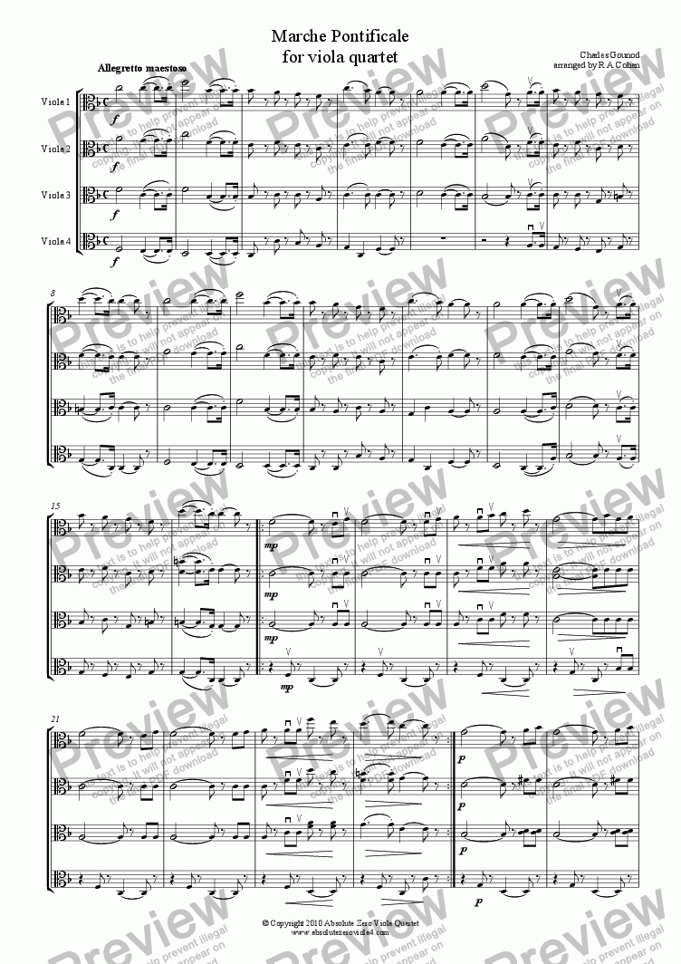 page one of Gounod - MARCHE PONTIFICALE - for viola quartet