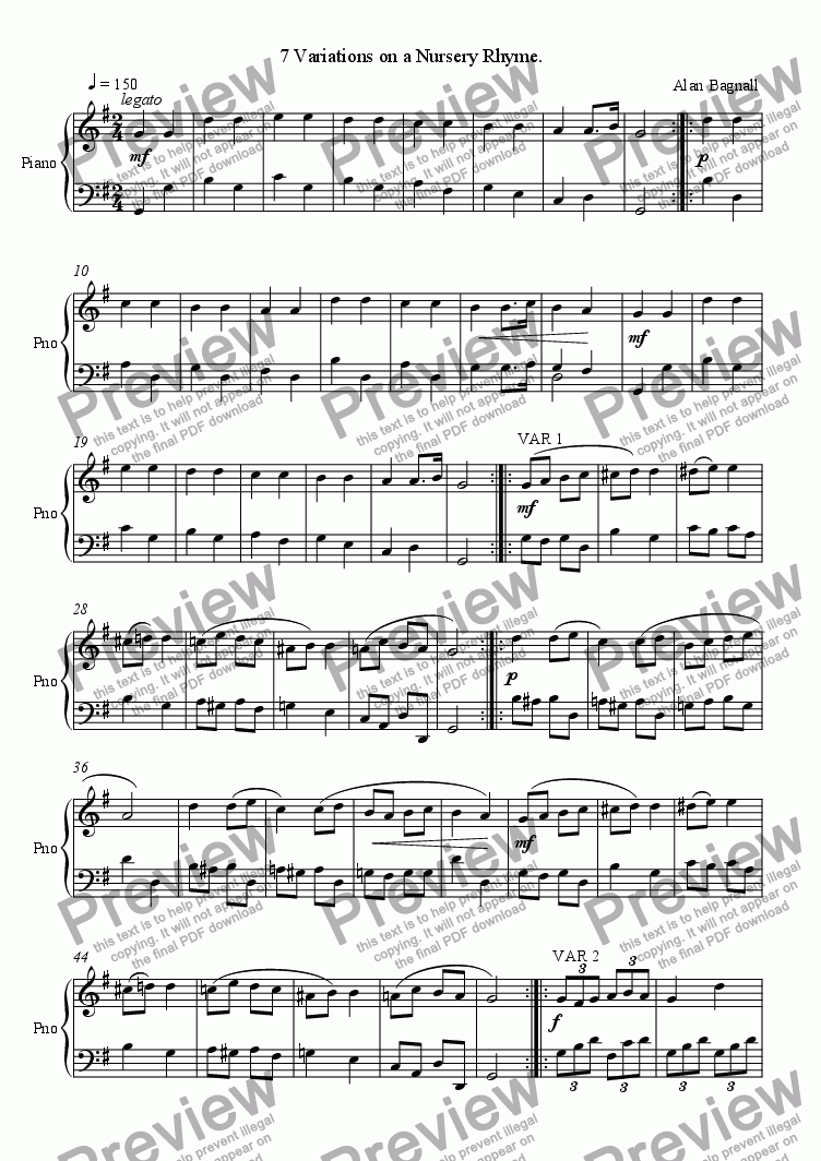 7 Variations On A Nursery Rhyme For Solo Instrument Piano By Alan Bagnall Sheet Music Pdf File To