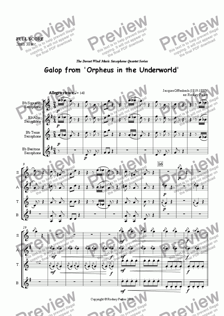page one of 'Galop' from Orpheus in the Underworld arr. for Sax Quartet