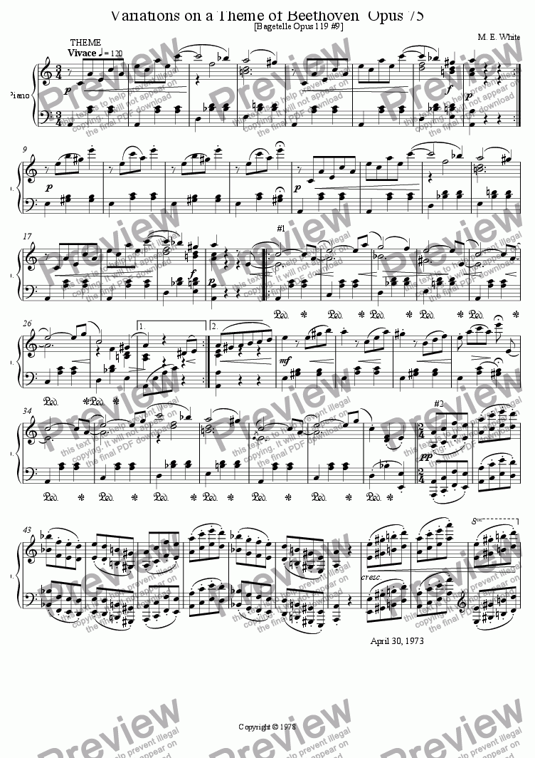 page one of Variations on a Theme of Beethoven Opus 75
