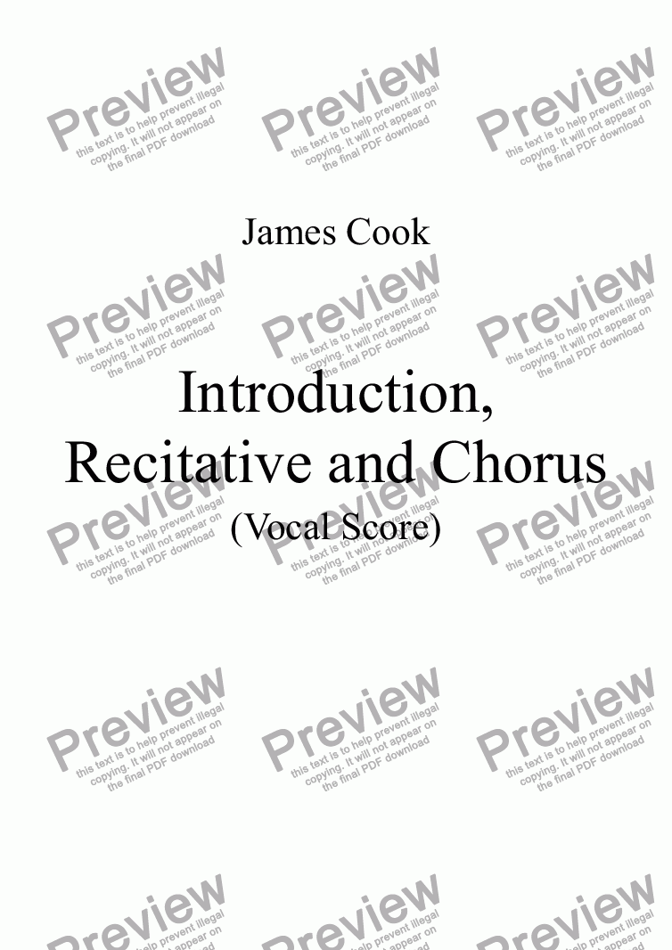 page one of Introduction, Recitative and Chorus
