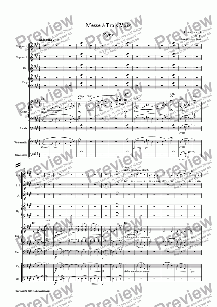 page one of Franck: Messe á Trois Voix (Mass for SSA soli and SSA choir, organ, harp, cello and bass)