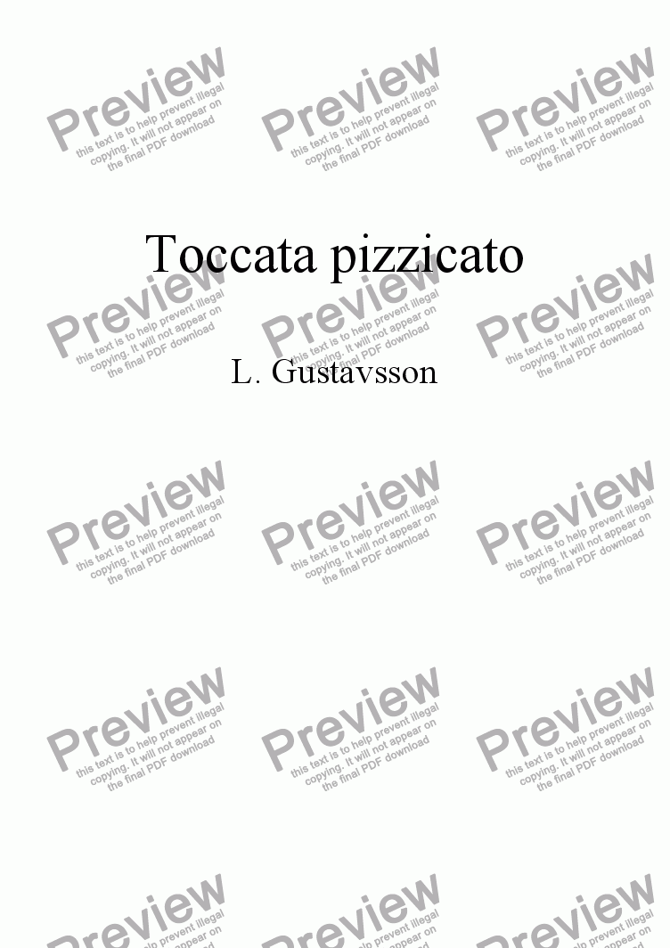 page one of Toccata pizzicato