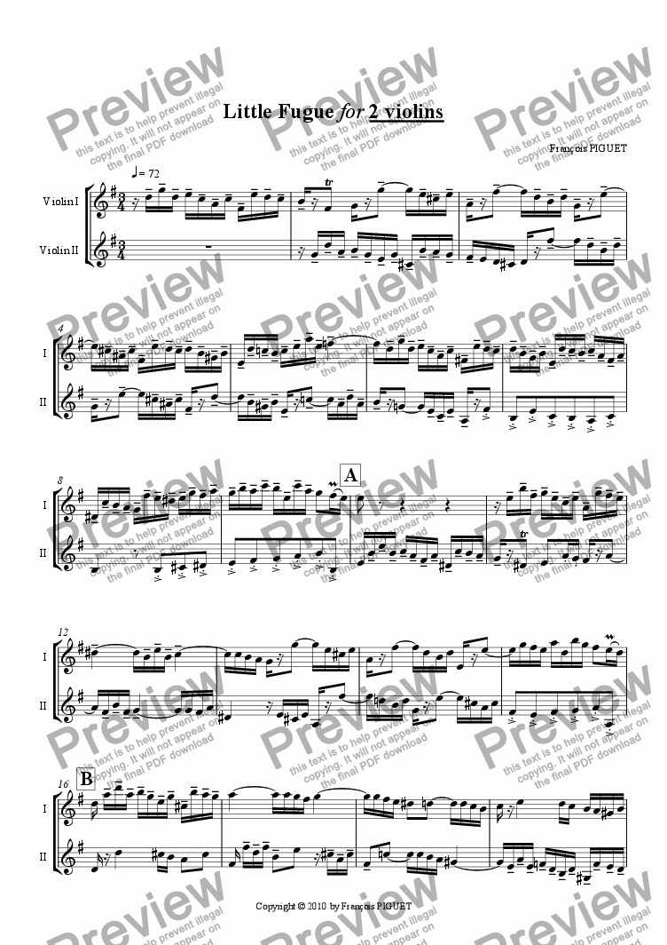 page one of Little Fugue for 2 Violins