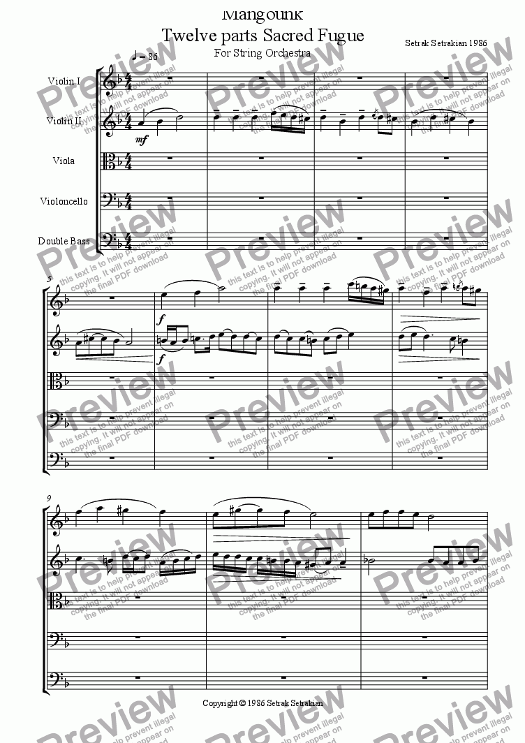 page one of Mangounk Twelve parts Sacred Fugue for String Orchestra