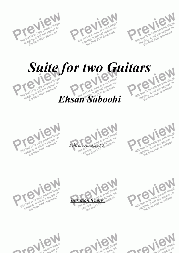 page one of Suite for two Guitars
