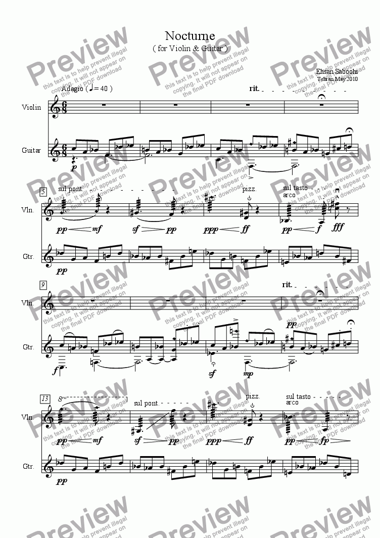 Nocturne For Violin Guitar For Duet Of Acoustic Guitars Notation By Ehsan Saboohi Sheet Music Pdf File To Download