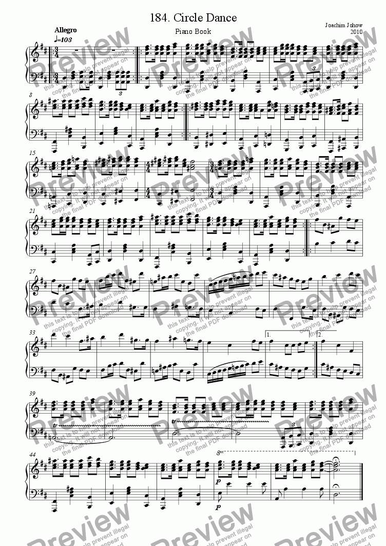 page one of Piano Book 185 (Circle dance)
