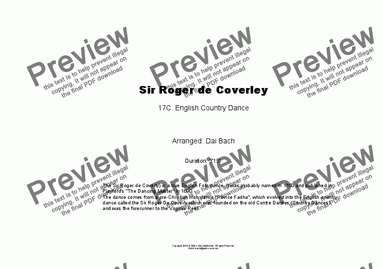 page one of Sir Roger de Coverley
