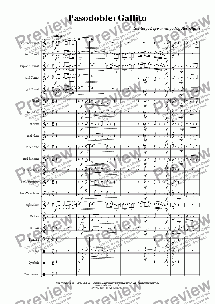 page one of Pasodoble - GALLITO (Brass Band)