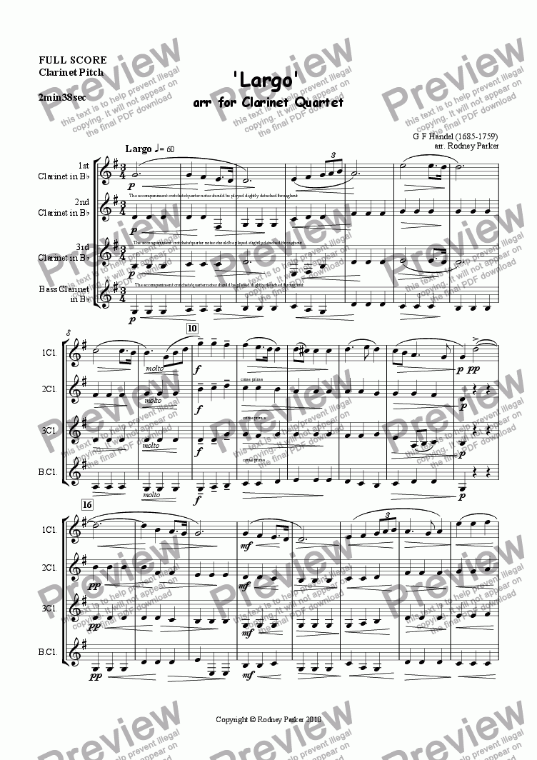 page one of 'Largo' arr. for Clarinet Quartet