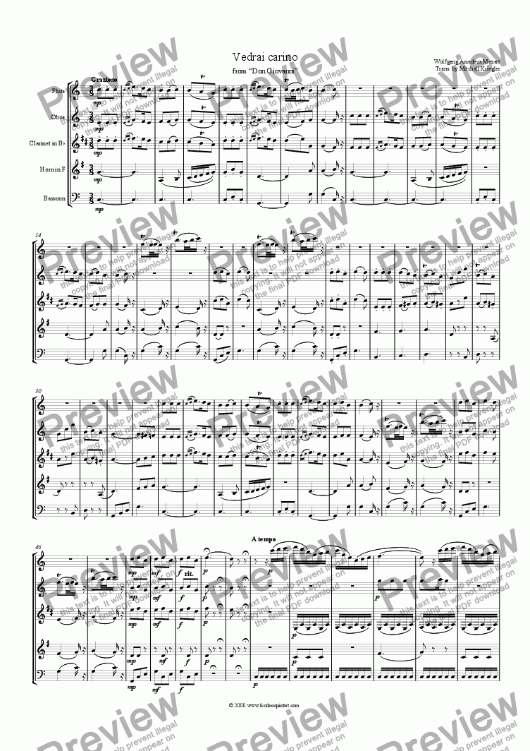page one of Mozart - Don Giovanni Vedrai Carino