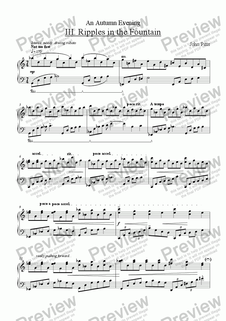 page one of An Autumn Evening - movement 3 - Ripples in the Fountain [2010]
