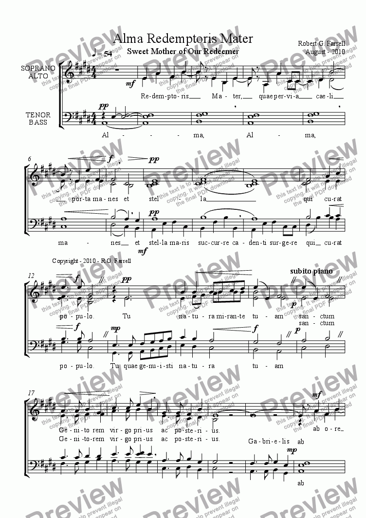 page one of Alma Redemtoris Mater