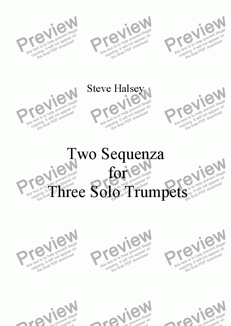 page one of Two Sequenza for Three Solo Trumpets