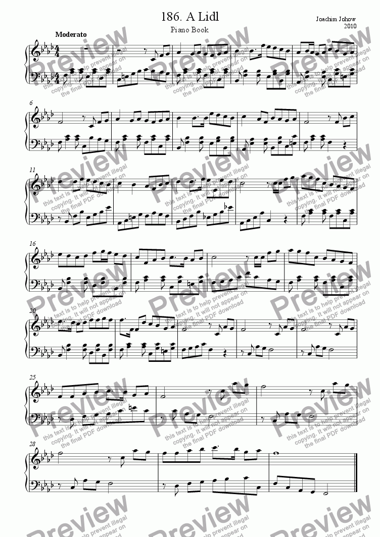 page one of Piano Book 186 (A Lidl - a little song)ASALTTEXT