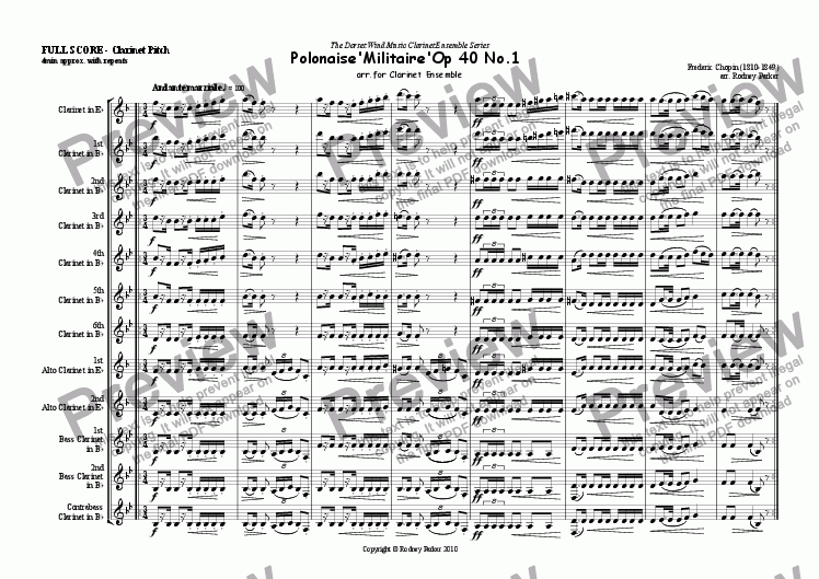 page one of Polonaise 'Militaire' arr. for Clarinet EnsembleASALTTEXT