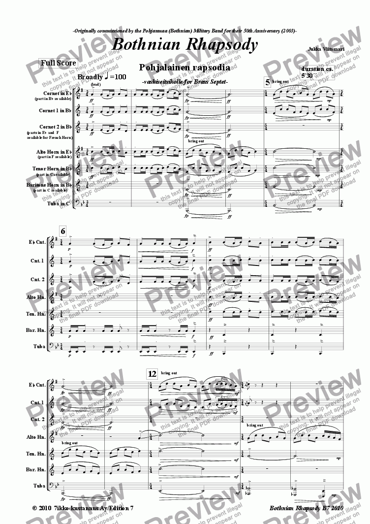 page one of Bothnian Rhapsody (brass septet)ASALTTEXT