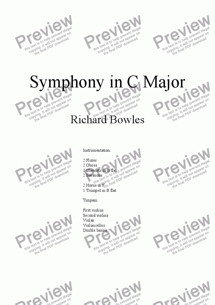 page one of Symphony in C Major (Movement 1)
