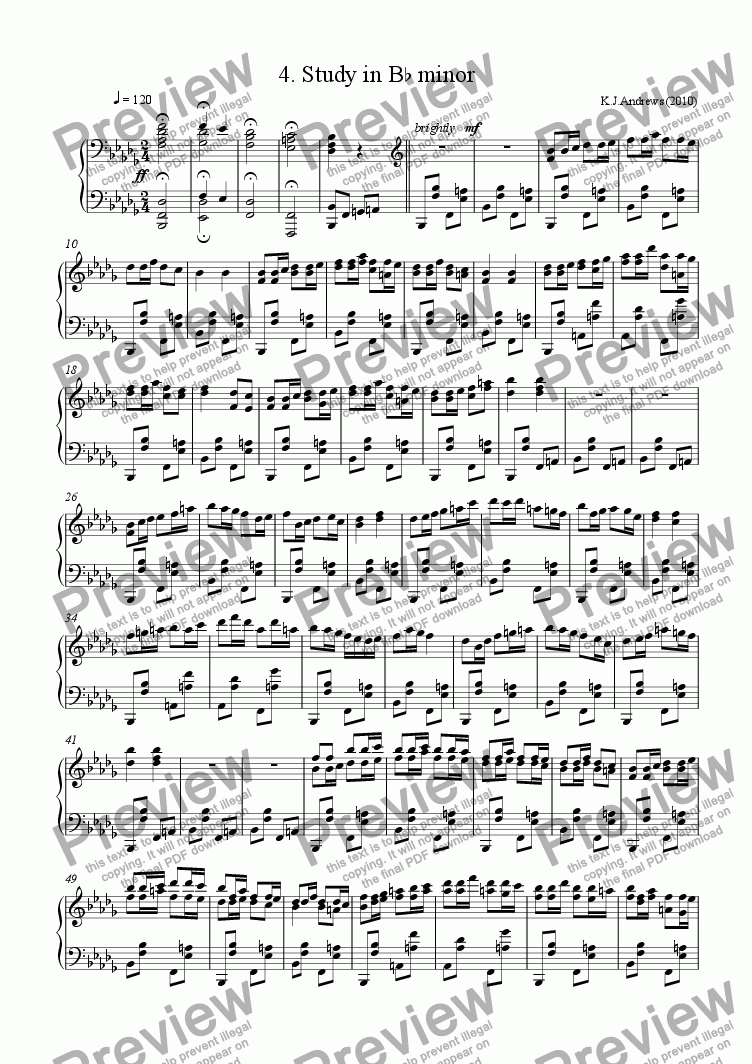 page one of 12 Studies in Remote Keys: 4.B-flat minor