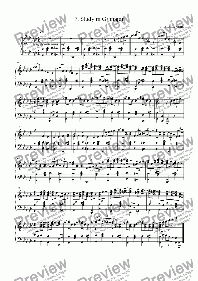 page one of 12 Studies in Remote Keys: 7.G-flat major