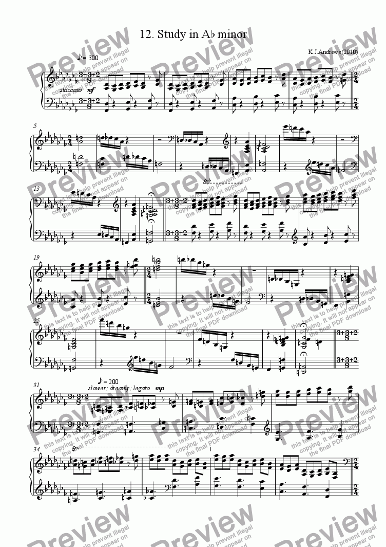 page one of 12 Studies in Remote Keys: 12.A-flat minor