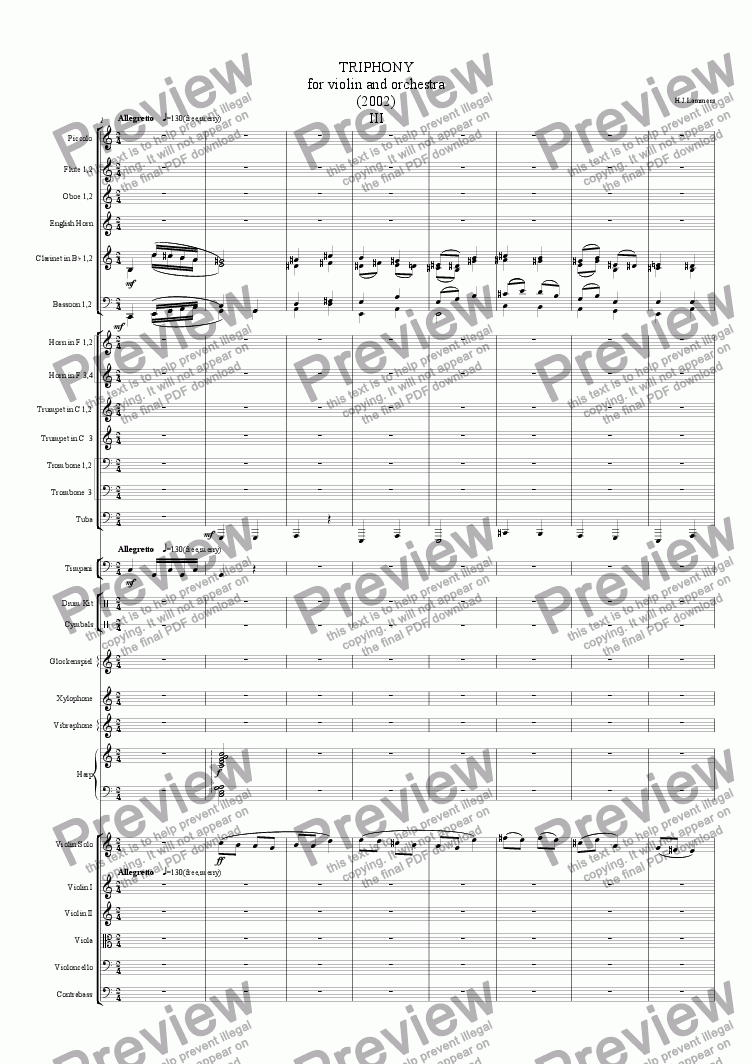 page one of Triophony for violin and orchestra, part 3ASALTTEXT