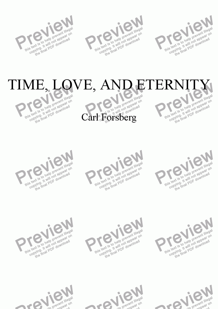 page one of TIME, LOVE, AND ETERNITY