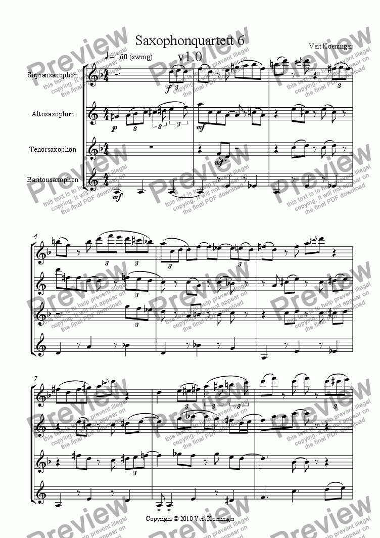 page one of Saxophone quartet 6