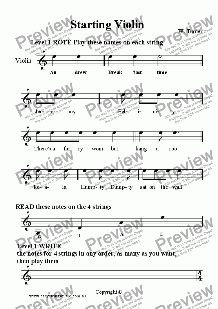 page one of Starting Violin Part A