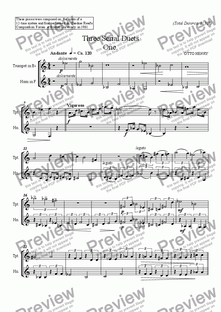 page one of Three Serial Duets for Trumpet and Horn