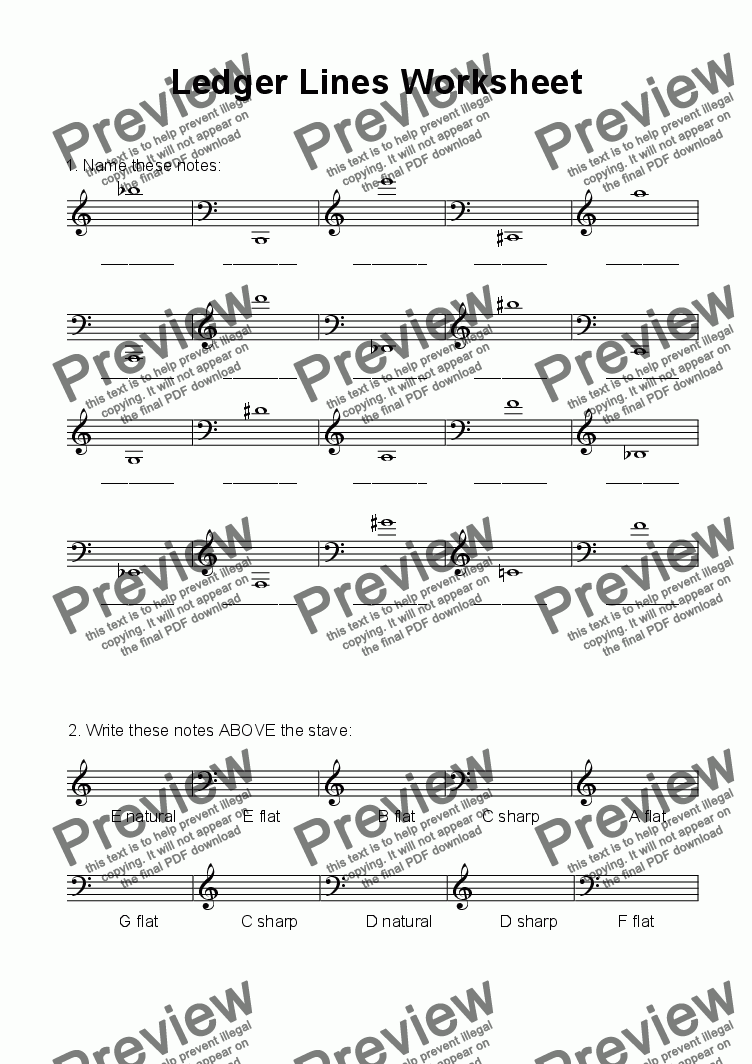 worksheet Ledger Lines Worksheet ledger lines worksheet download sheet music pdf file which method of viewing should i use