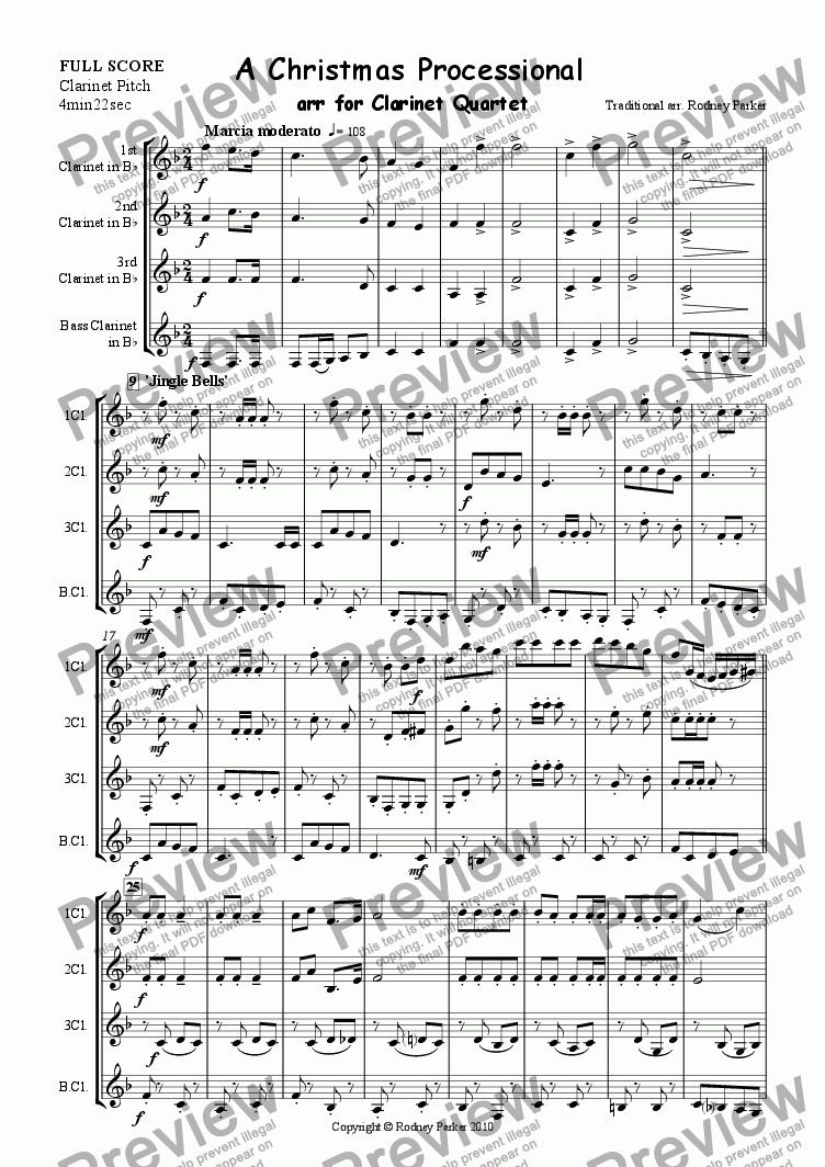 page one of A Christmas Processional arr. for Clarinet Quartet