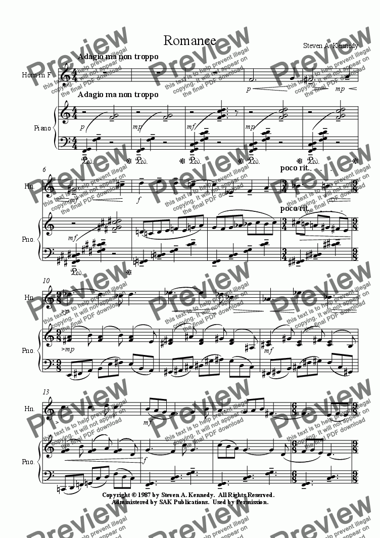 page one of Romance for French Horn