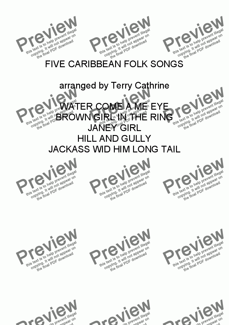 page one of Five Caribbean Folk Songs for Recorder Trio