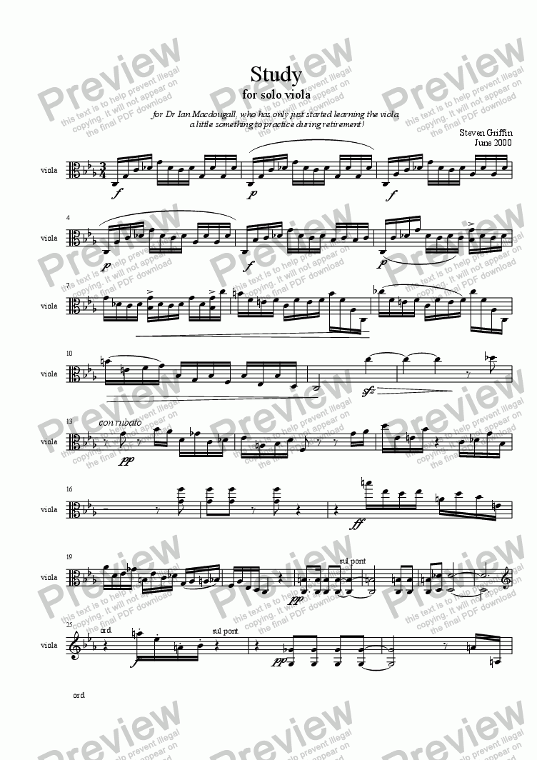 page one of Study for Viola