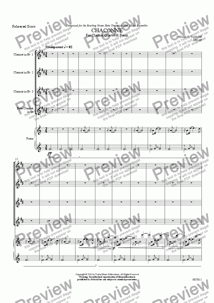 page one of Chaconne - for Clarinet Quartet & Piano